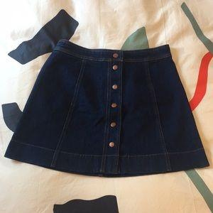 NWOT Madewell Metropolis Snap Denim Skirt